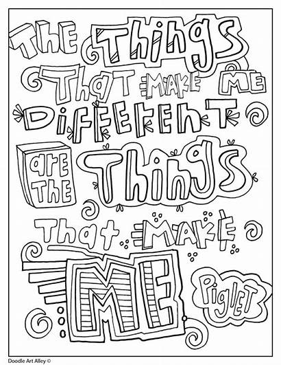 Doodle Coloring Pages Pooh Winnie Quote Alley