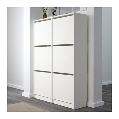 ikea tall shoe cabinet bissa shoe cabinet with 3 compartments white 49x135 cm ikea
