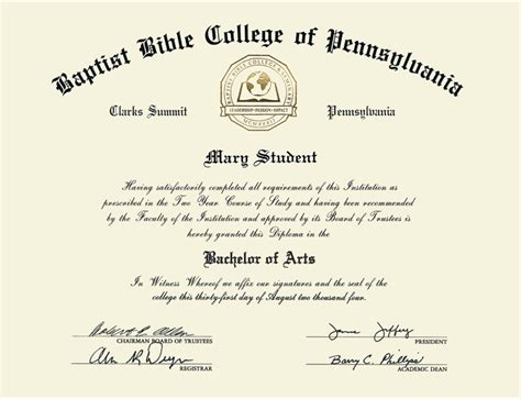 Of The Bible Certificate Baptist Bible College And Seminary Gold Engraved Medallion