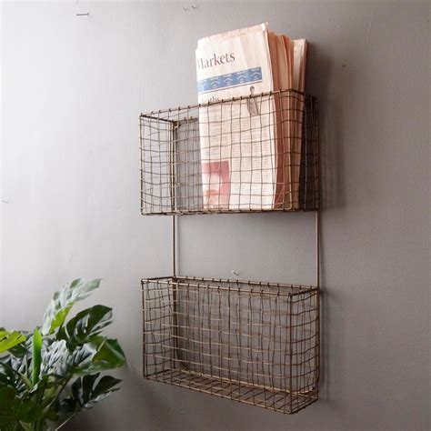 Wall Hanging Wire Magazine Rack, H51xW35x10cm   Livs