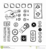 Bottoni Schizzo Spinge Elevatore Dell Che Illustrazione sketch template