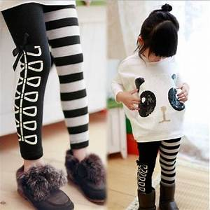 New Kids Clothing Cute Girls Classical Black And White Design Leggings Ages3-8Y | eBay