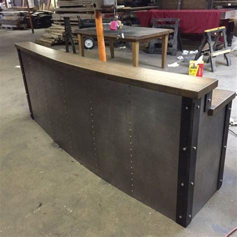 front desk reception furniture hand crafted restaurant business sleek metal front desk