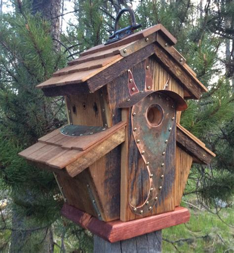 cool birdhouse designs unique barnwood birdhouse abbey copper design birthday wedding