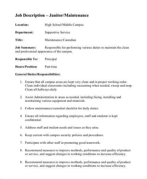 school custodian duties checklist