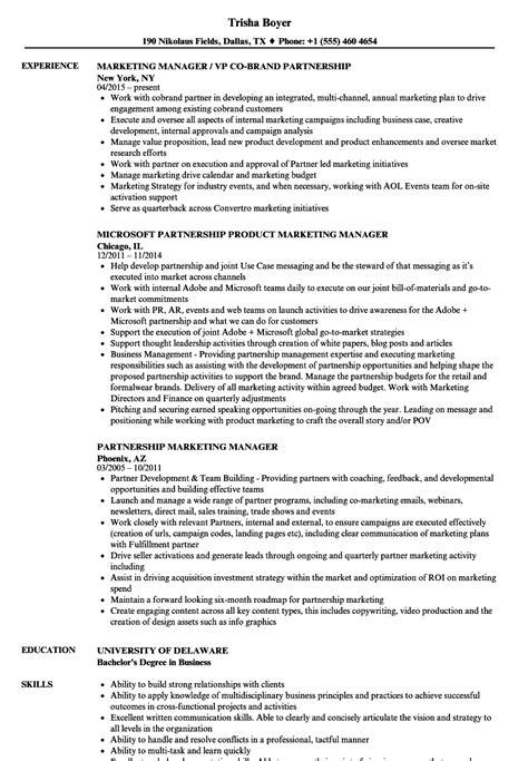 Marketing Manager Resume by Partnership Marketing Manager Resume Sles Velvet