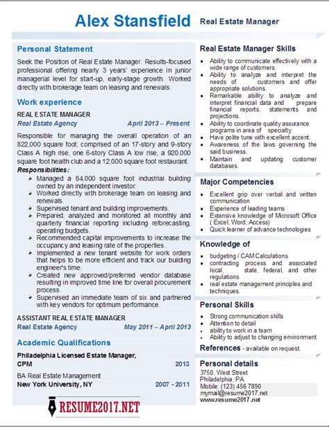 real estate manager resume  examples