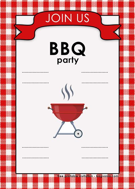 backyard bbq invitation templates  printable