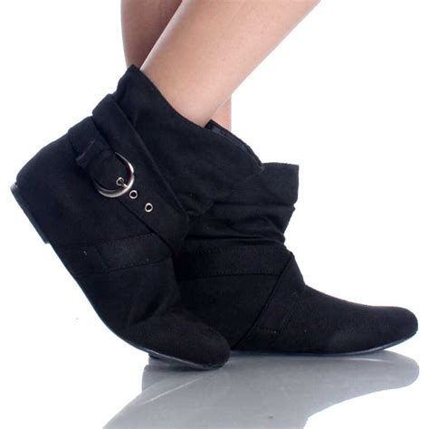 Flat Bootie by Black Suede Buckle Slouch Bootie Casual Dress Flat