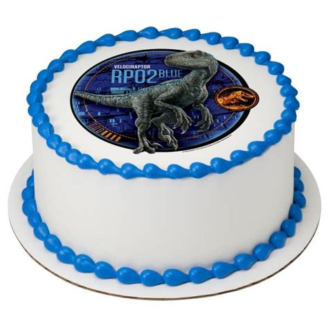 jurassic world  blue edible cake topper image