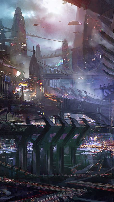 sci fi city hd android wallpaper