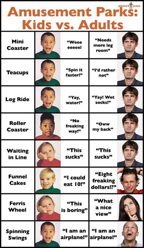 Amusement Parks: Kids vs. Adults ? Pleated Jeans