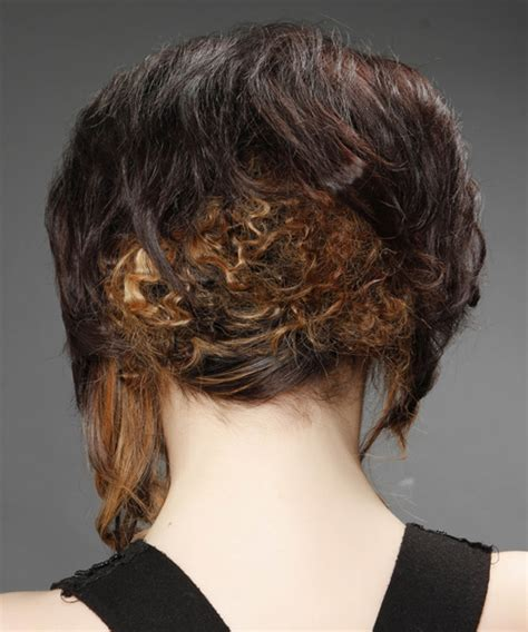 medium curly formal asymmetrical updo hairstyle dark