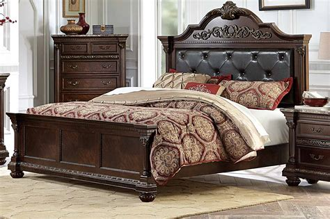 Russian Hill Upholstery by Homelegance Russian Hill Upholstered Bed Warm Cherry