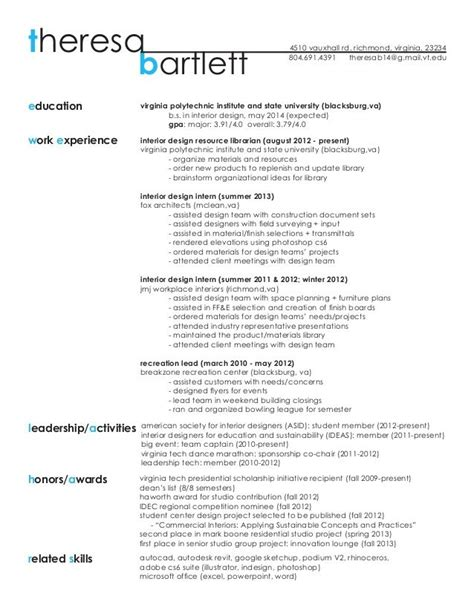 sle interior design resume with work experience as