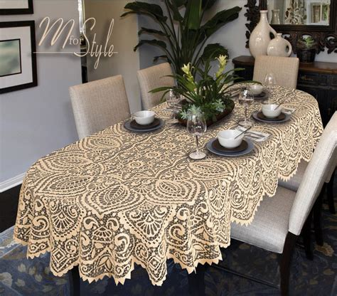 oval round lace tablecloth white or beige large premium
