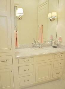 Little girl39s bathroom cream cabinets marble top soft for Pink and cream bathroom
