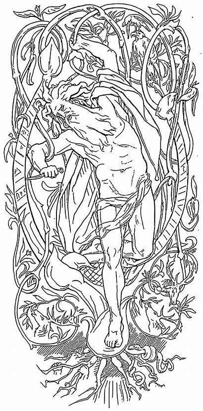Odin Yggdrasil Sacrifice Svg Runes Vector Norse