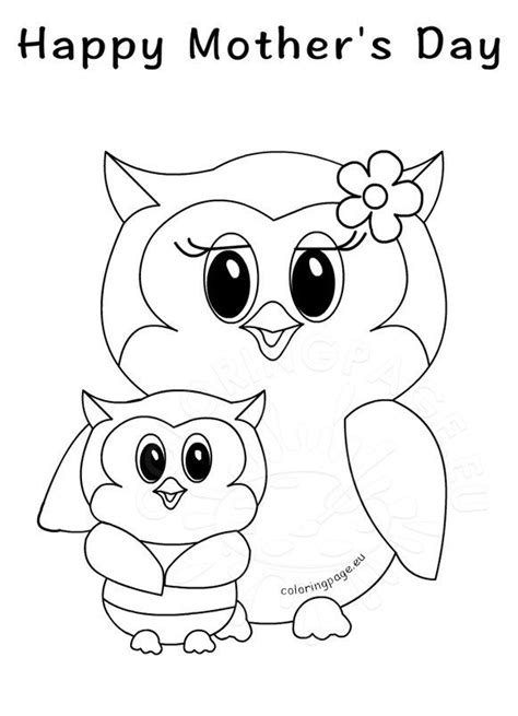 happy mothers day owls coloring page