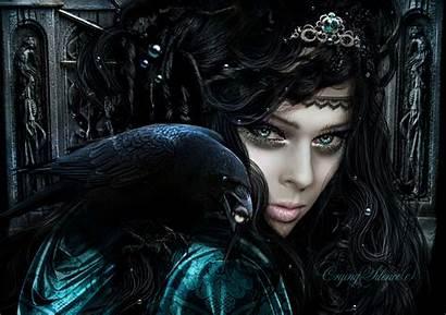 Fantasy Gothic Dark Brunette Hair Face Crows