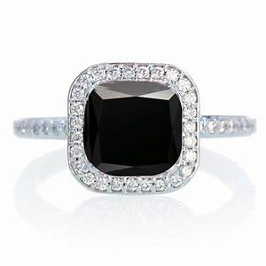 15 carat cushion cut classic black diamond and diamond With 5 carat wedding ring