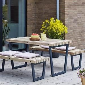 Table Et Banc De Jardin : siesta ensemble table et 2 bancs de jardin lasur bois ~ Melissatoandfro.com Idées de Décoration