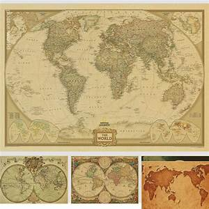 Weltkarte Poster Vintage : vintage world map home decoration detailed antique poster retro cloth poster globe old world ~ Watch28wear.com Haus und Dekorationen
