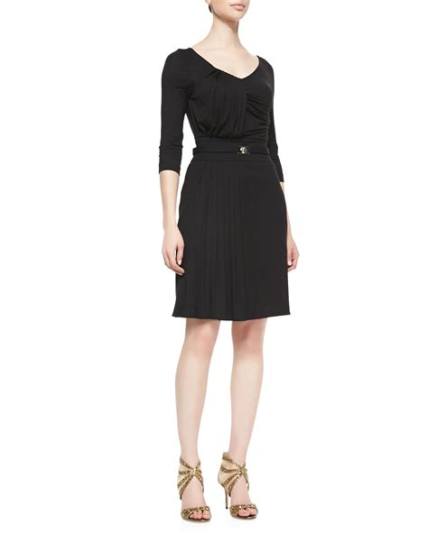 dress black versace versace 1 2 sleeve pleated jersey dress in black nero lyst