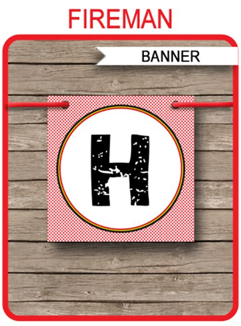 fireman party banner template birthday banner editable