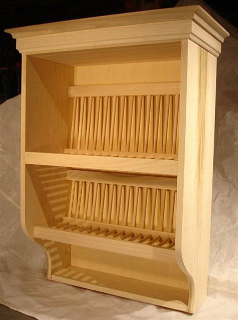 Plate Rack with Crown Molding, Solid Poplar Unfinished