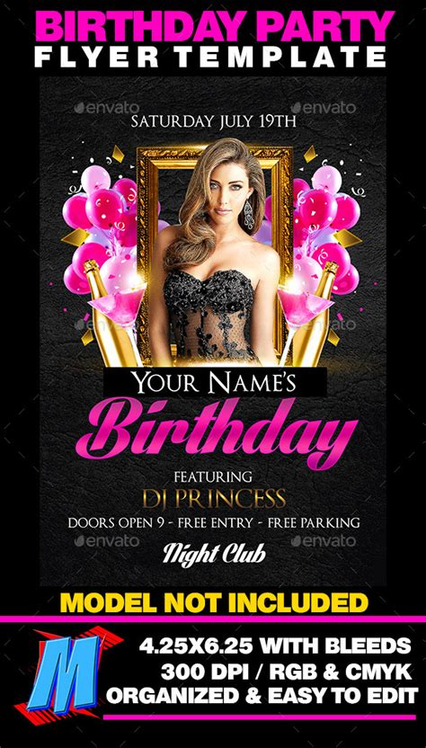 birthday party flyer templates birthday flyer template by megakidgfx graphicriver