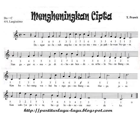 lagu indonesia raya not balok not balok dan not angka mengheningkan cipta indonesia admin