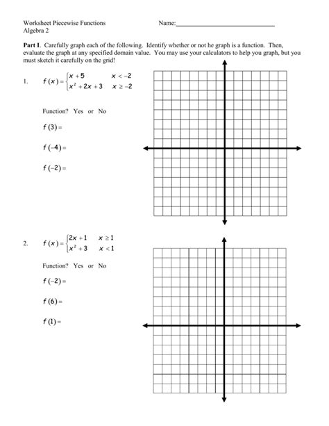 piecewise functions worksheet worksheet piecewise functions