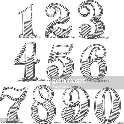vintage style numbers drawing vector art getty images