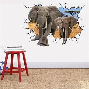 Elephant Break Through Wall Creative Decal Stickers
