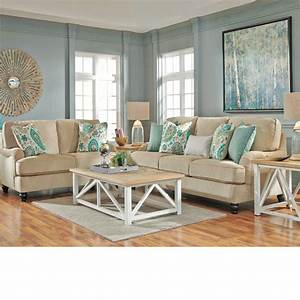 Coastal living room ideas lochian sofa by ashley for Beach living room furniture
