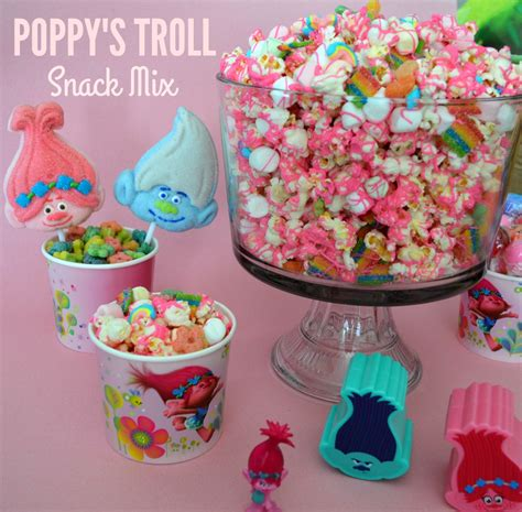poppys pink trolls party snack mix printable party