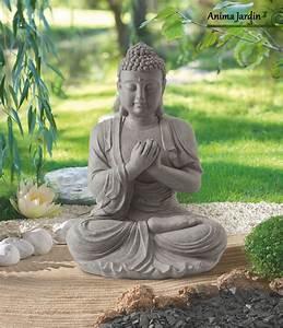 statue buddha 60 cm en fibre de verre aspect pierre With lovely moulin en pierre pour jardin 5 decoration pour petit jardin