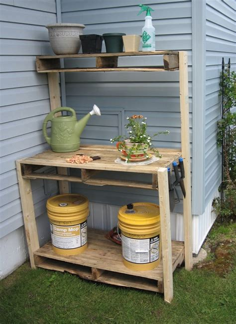 reclaimed wood outdoor potting bench with storage and