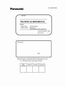 Panasonic Ac Servo Driver Technical Reference