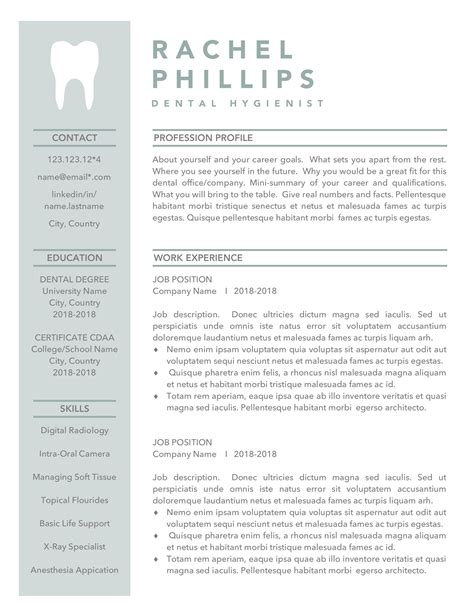 Dental Resume Templates by Dental Resume Template For Word Hygienist Cv Dentist