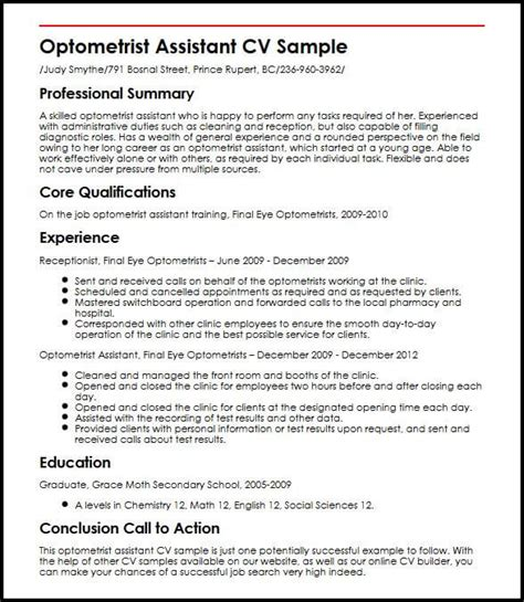 Letter For Optometric Assistant by Optometrist Assistant Cv Sle Myperfectcv
