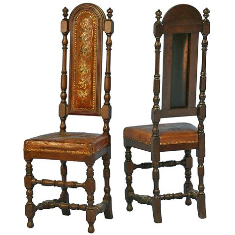 antique leather chairs pair antique leather embossed painted high back chairs 1288