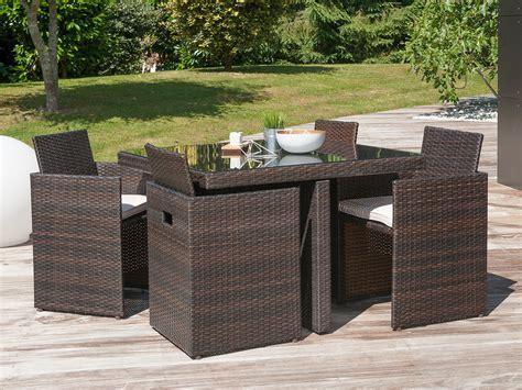 Salon de jardin encastrable 4 places  table 105x105cm en