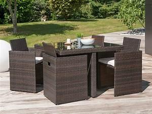 Salon Jardin Resine Tressée : salon de jardin encastrable 4 places table 105x105cm en ~ Premium-room.com Idées de Décoration