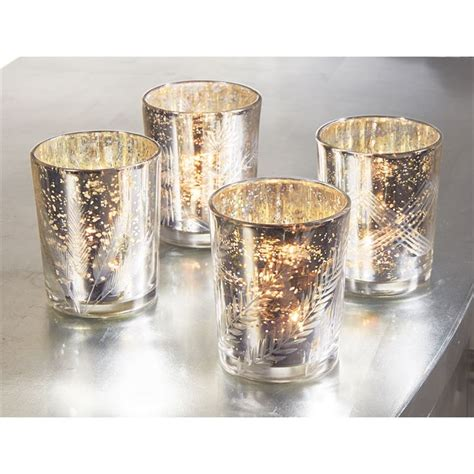 mercury glass silver votives mud pie