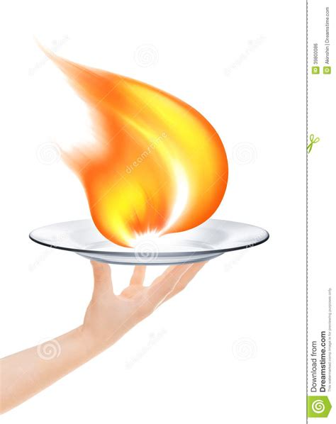 waiter holding  plate   fire stock photo image