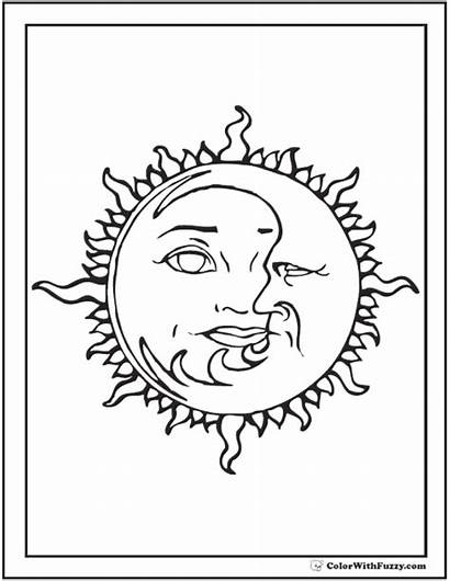 Moon Coloring Sun Pages Stars Printable Star