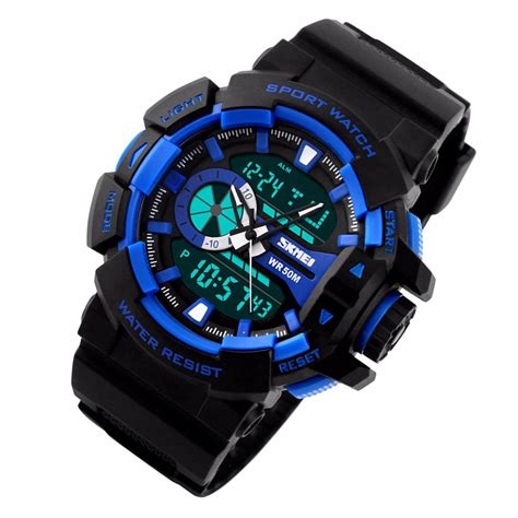skmei jam tangan digital analog pria ad1117 blue