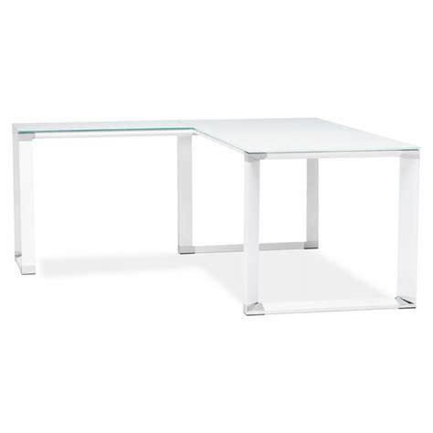 bureau en verre blanc bureau d 39 angle design master en verre trempé blanc